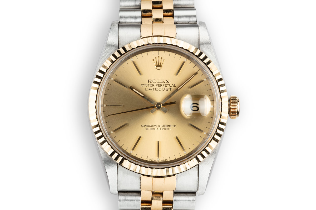 1993 Rolex Two-Tone DateJust 16233 Champagne Dial with Box and Papers photo, #0