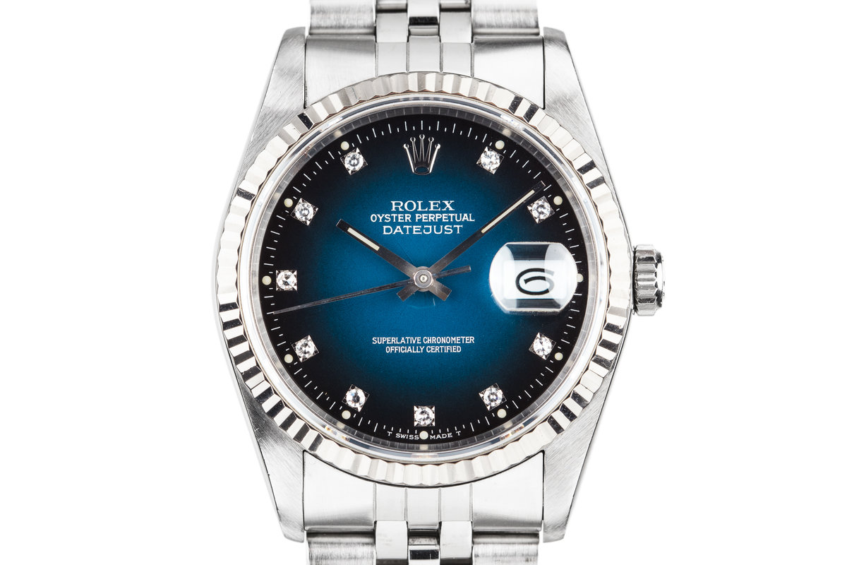 """1990 Rolex DateJust 16234G with """"Spidering"""" Blue Vignette Diamond Dial photo, #0"""