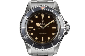 1959 Rolex Submariner 5512 with Tropical Gilt Chapter Ring Dial, Red Triangle Bezel, and Big Logo Stretch Bracelet photo