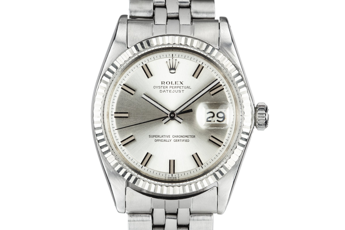 "1968 Rolex DateJust 1601 with Silver No Lume ""Wide Boy"" Dial photo, #0"