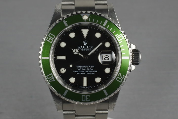 2006 Rolex Green Submariner 16610 LV with Box and Papers photo