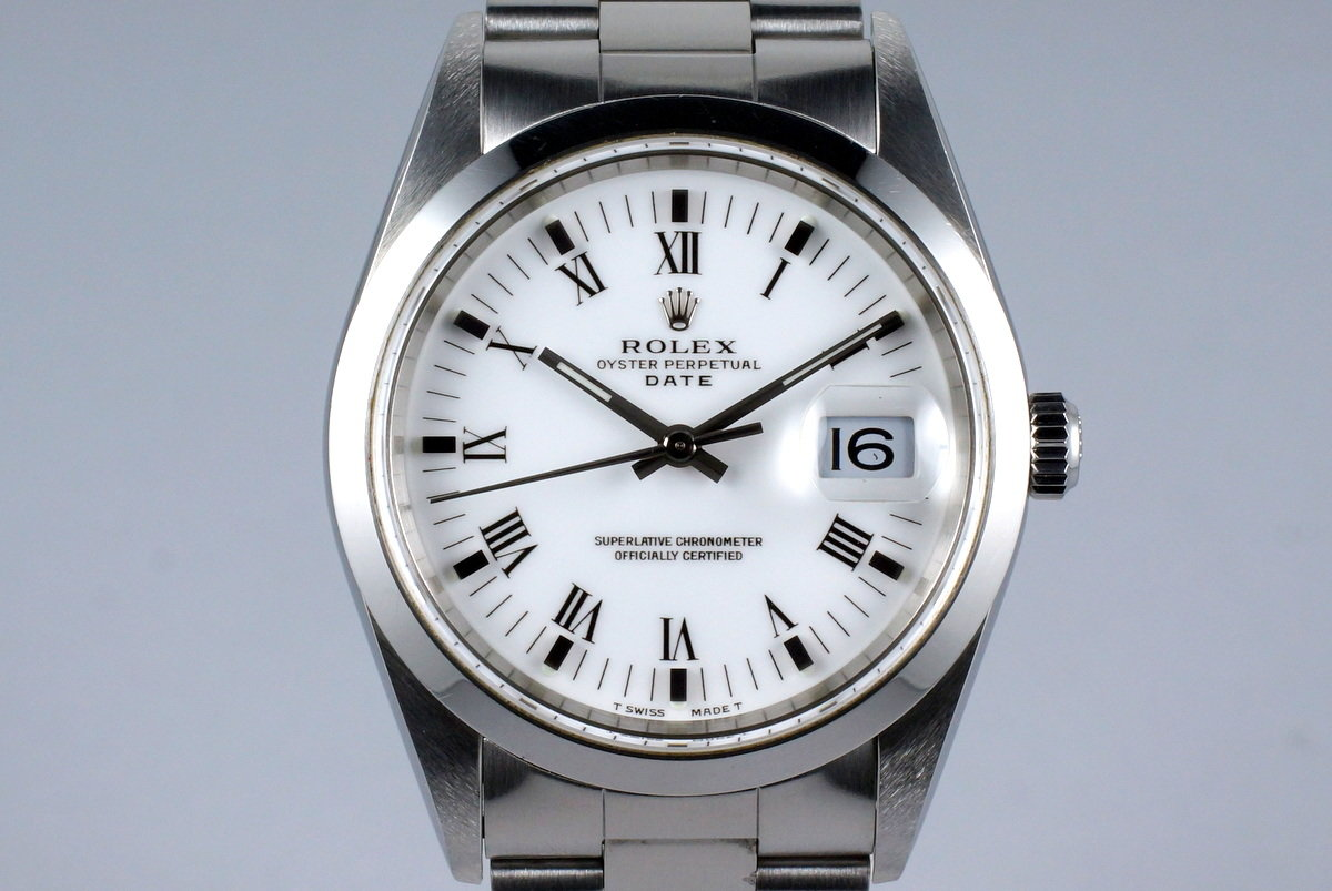 1999 Rolex Date 15200 White Roman Dial with Box & Papers photo, #0
