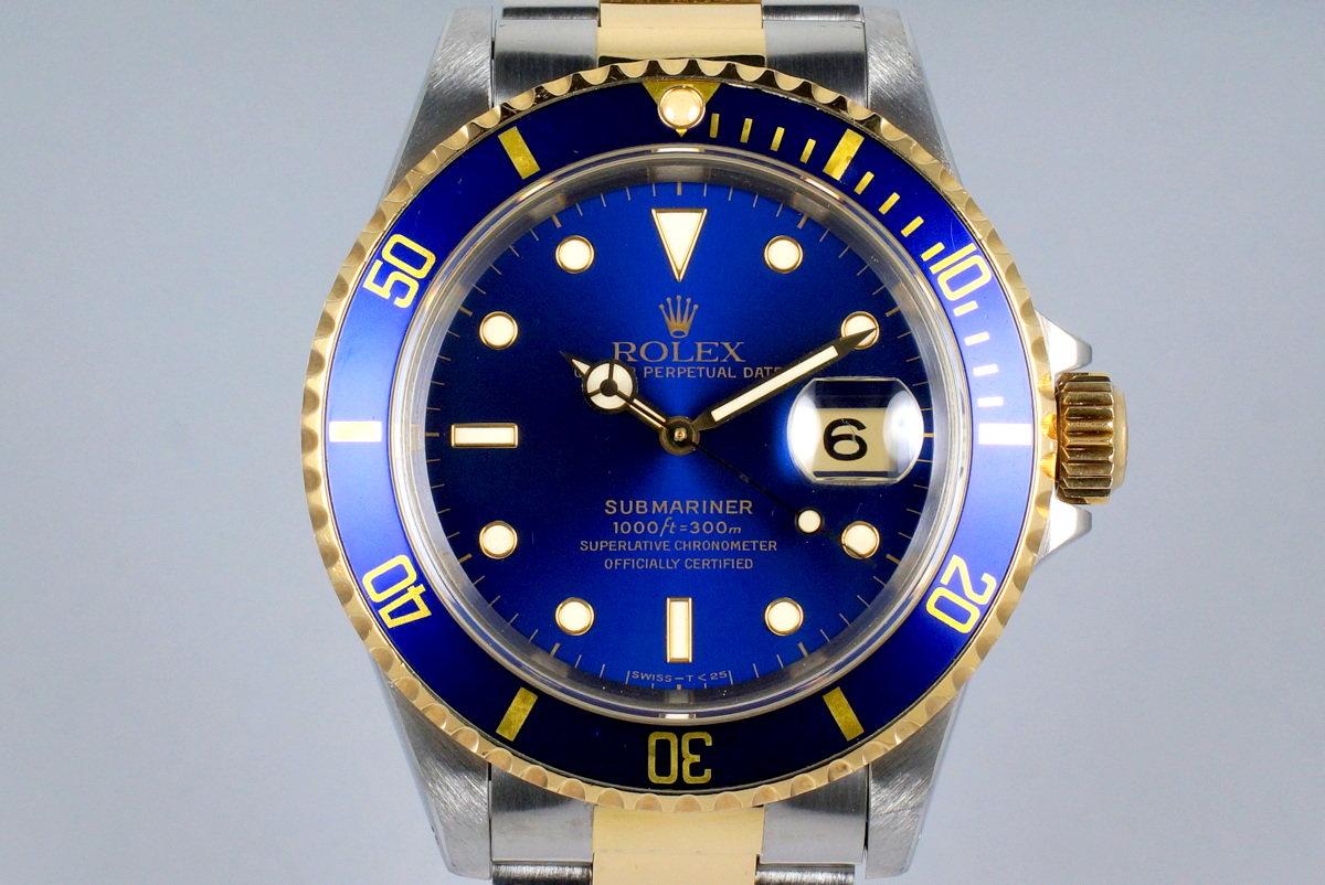 1993 Rolex Two Tone Blue Submariner 16613 photo, #0