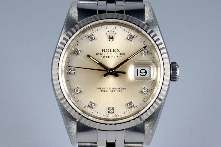 1991 Rolex DateJust 16234 Factory Silver Diamond Dial photo