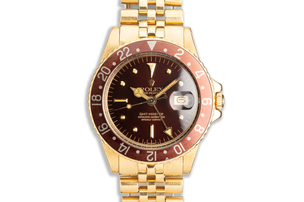 1971 Vintage Rolex 18K YG GMT-Master 1675 Brown Nipple Dial w/ Service Papers photo, #0