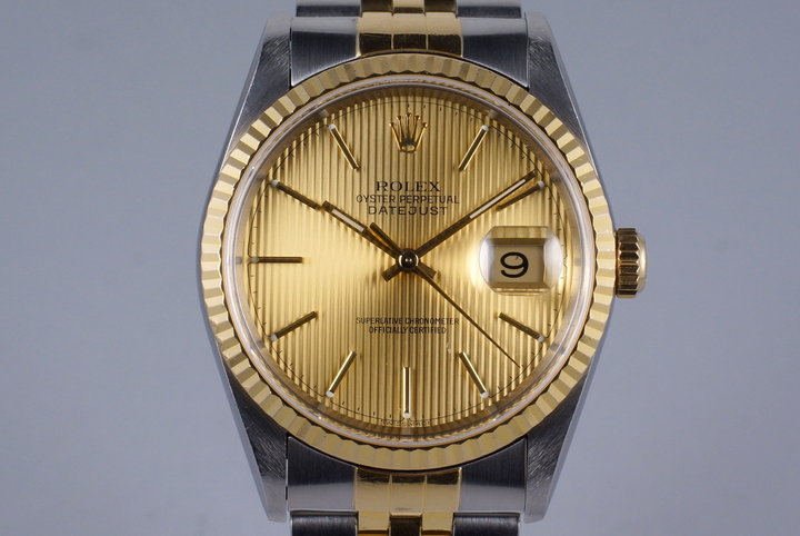 2000 Rolex Two Tone DateJust 16233 Tapestry Dial with Box and Papers photo