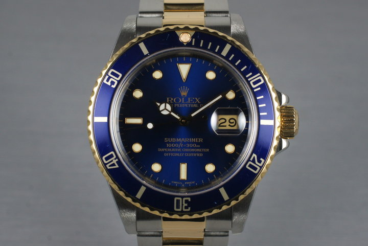 1987 Rolex Two Tone Blue Submariner 16803 with Box and Papers photo