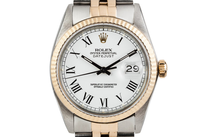 1983 Rolex Two Tone Datejust 16013 with White Painted Roman Numerals photo