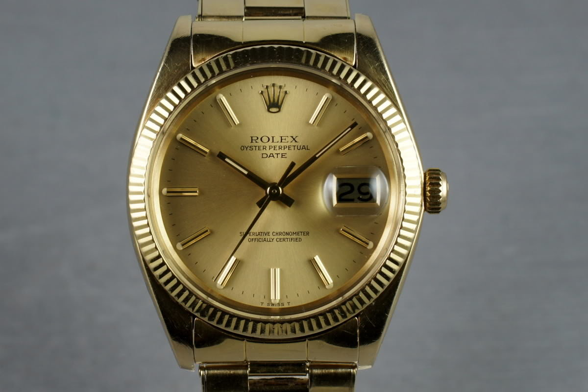 1980 Rolex 14K Date 1503 with riveted 57 end link bracelet photo, #0