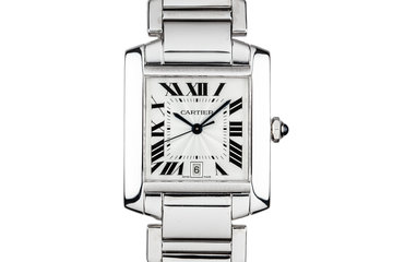 Cartier 18K Large White Gold Tank Francaise Date W5001153 photo
