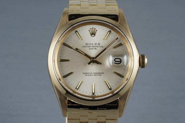 1968 Rolex 18K YG Date 1500 with Brick Bracelet photo