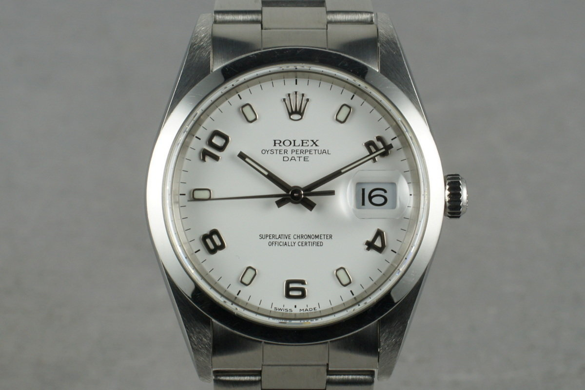 2000 Rolex White Arabic Dial Date 15200 With Box & Papers photo, #0