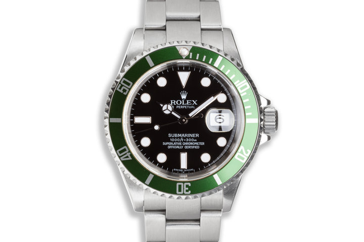 2007 Green Anniversary Rolex Submariner 16610LV with Box and Papers photo