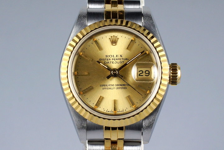 1989 Rolex Ladies Two Tone DateJust 69173 Champagne Dial with Box and Papers photo