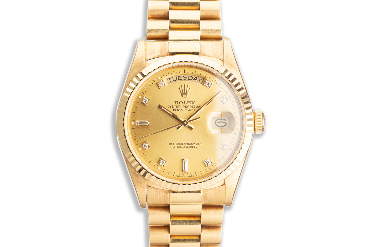 1988 Rolex 18K YG Day-Date 18038 with Metallic Gold Diamond Dial photo, #0
