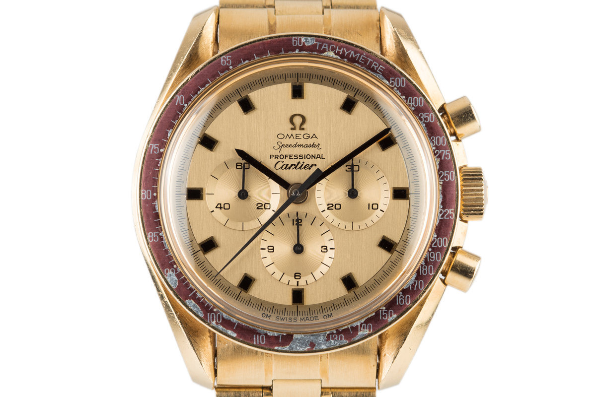 1969 18K Gold Cartier Dial Omega Speedmaster #50 with Extract of the Archives photo, #0
