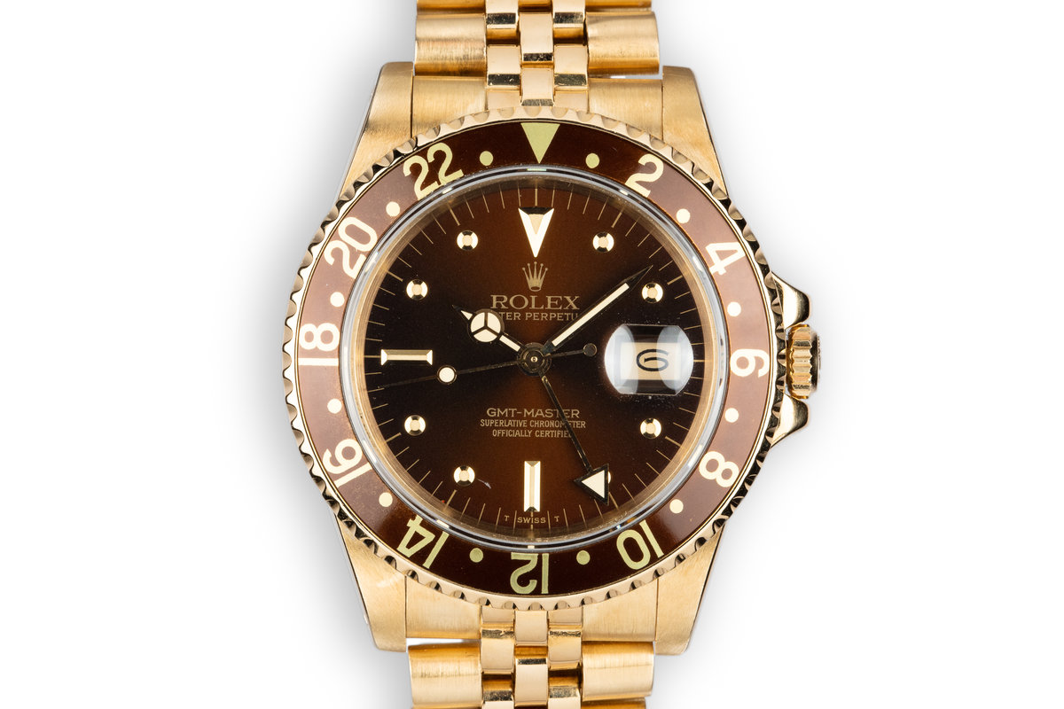 1984 Rolex 18K YG GMT-Master 16758 with Root Beer Nipple Dial photo, #0