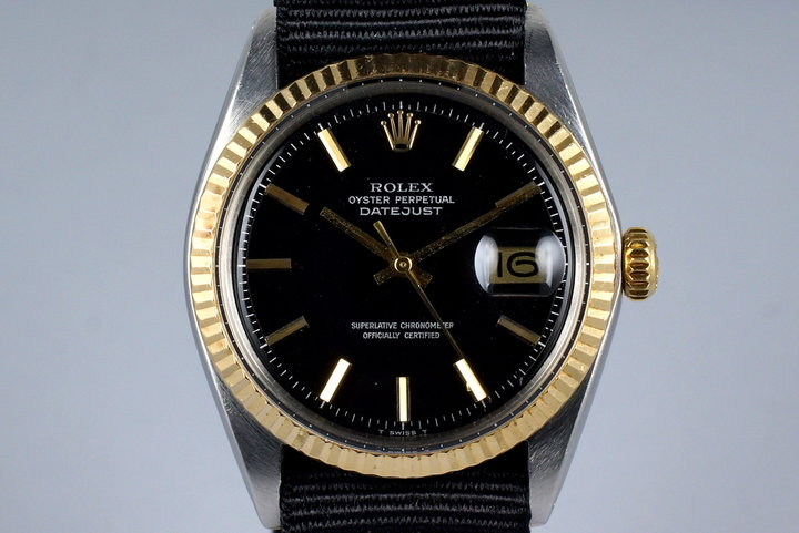 1968 Rolex Two Tone Datejust 1603 Glossy Black Dial photo
