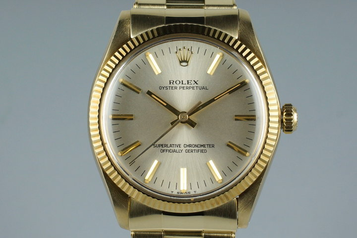 1977 Rolex YG Oyster Perpetual 1005 with Box and Papers photo