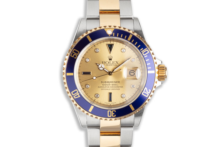 Unpolished 2003 Rolex Two-tone Submariner 16613 Champagne Serti Dial Box & Papers photo