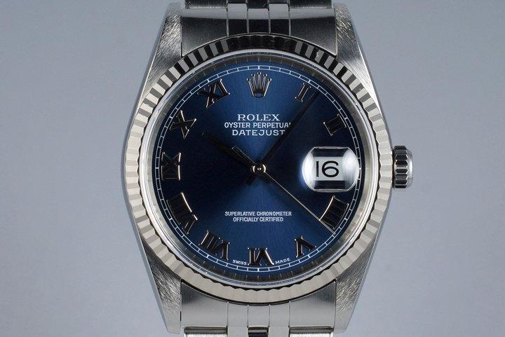 2001 Rolex DateJust 16234 Blue Roman Dial photo