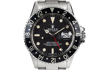 1971 Rolex GMT-Master 1675 with Black Bezel Insert and Box and Papers F-105 Fighter-Bomber Watch photo