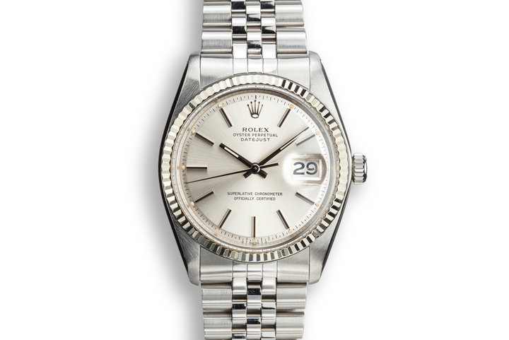 1978 Rolex DateJust 1601 Silver Sigma Dial with Service Papers photo