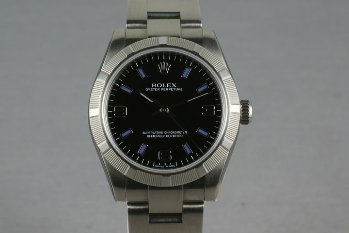 Rolex Midsize Oyster Black Arabic Numbers and Blue Markers  177210 photo
