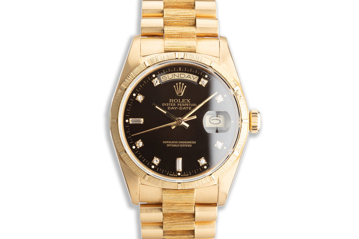 1985 Rolex 18K YG Day-Date 18078 Black Diamond Dial with Box photo