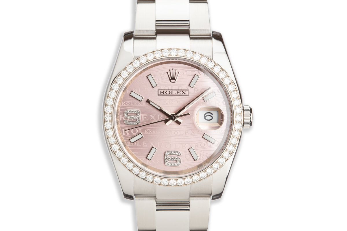 2013 Rolex DateJust 116244 with Factory Diamond Bezel & Dial, Box and Card photo, #0