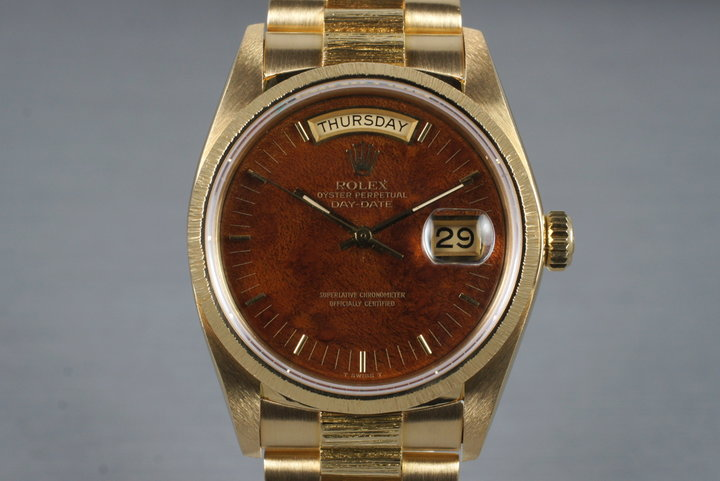 1979 Rolex 18K Bark Day-Date 18078 with Wood Dial photo
