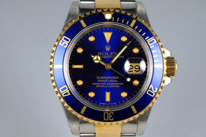 1991 Rolex Two Tone Blue Submariner 16613 UNPOLISHED photo