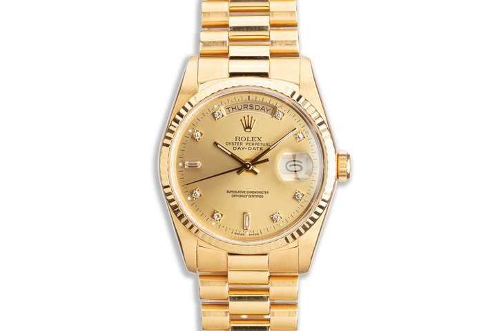 1989 Rolex 18K YG Day-Date 18238 with Champagne Diamond Marker Dial Box & Papers photo