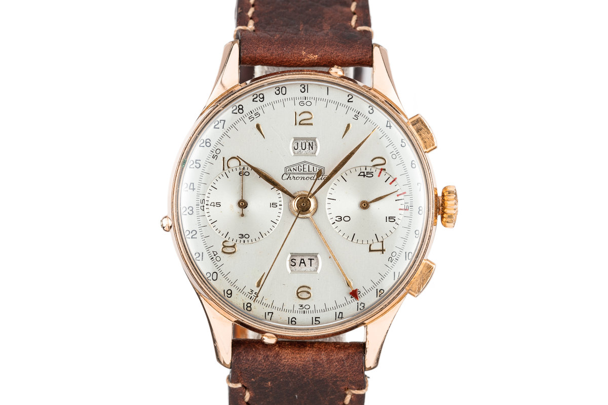 Angelus Rose Gold Plated Chronodate with Silver Dial photo, #0
