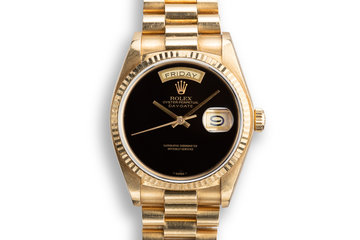 1979 Rolex 18K YG Day-Date 18038 Onyx Dial with Service Papers photo