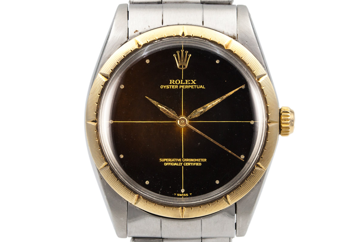 1965 Rolex Two Tone Oyster Perpetual 1008 Zephyr Dial and Bezel with Gilt Tropical Dial photo, #0