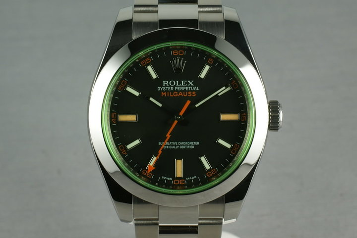 Rolex Milgauss Green 16400 GV with Box and Papers photo