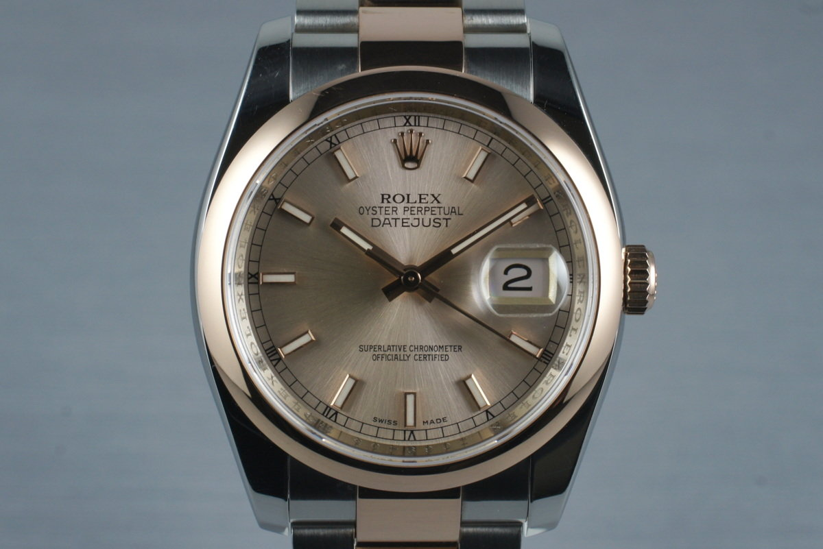 2006 Rolex Datejust 116201 Rose Gold and Stainless with Box and Papers photo, #0