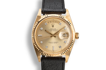 1970 Rolex 18K YG Day-Date 1803 with Champagne Diamond Dial photo