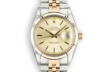1978 Rolex Two-Tone DateJust 1601 Champagne Dial with Box and Papers photo