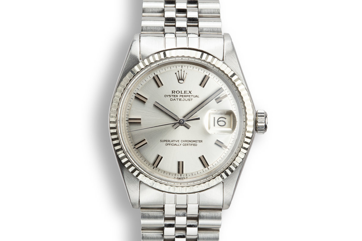 1970 Rolex DateJust 1601 with No Lume Wide Boy Dial photo, #0