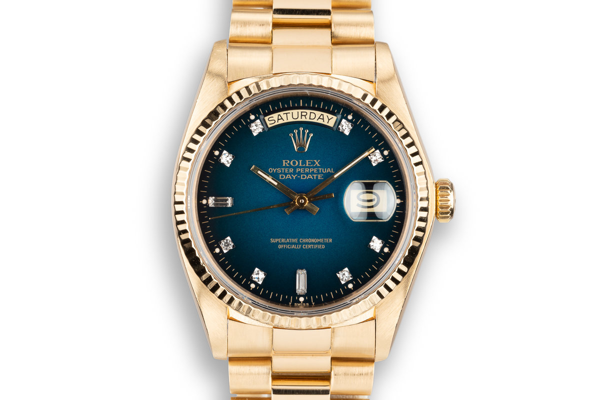 1979 Rolex 18K YG Day-Date 18038 with Blue Vignette Diamond Dial photo, #0