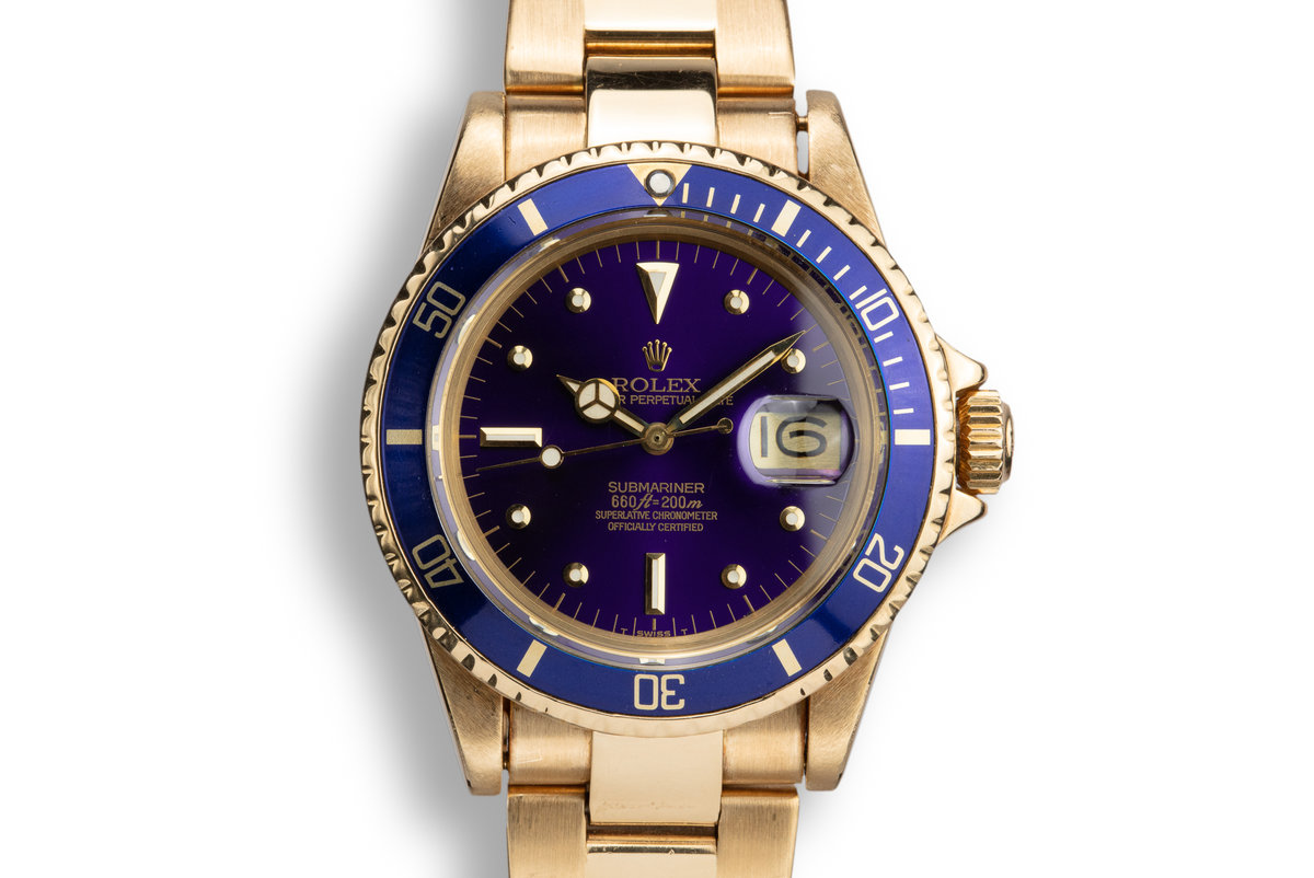1978 Rolex 18k YG Submariner 1680 Blue Dial photo, #0