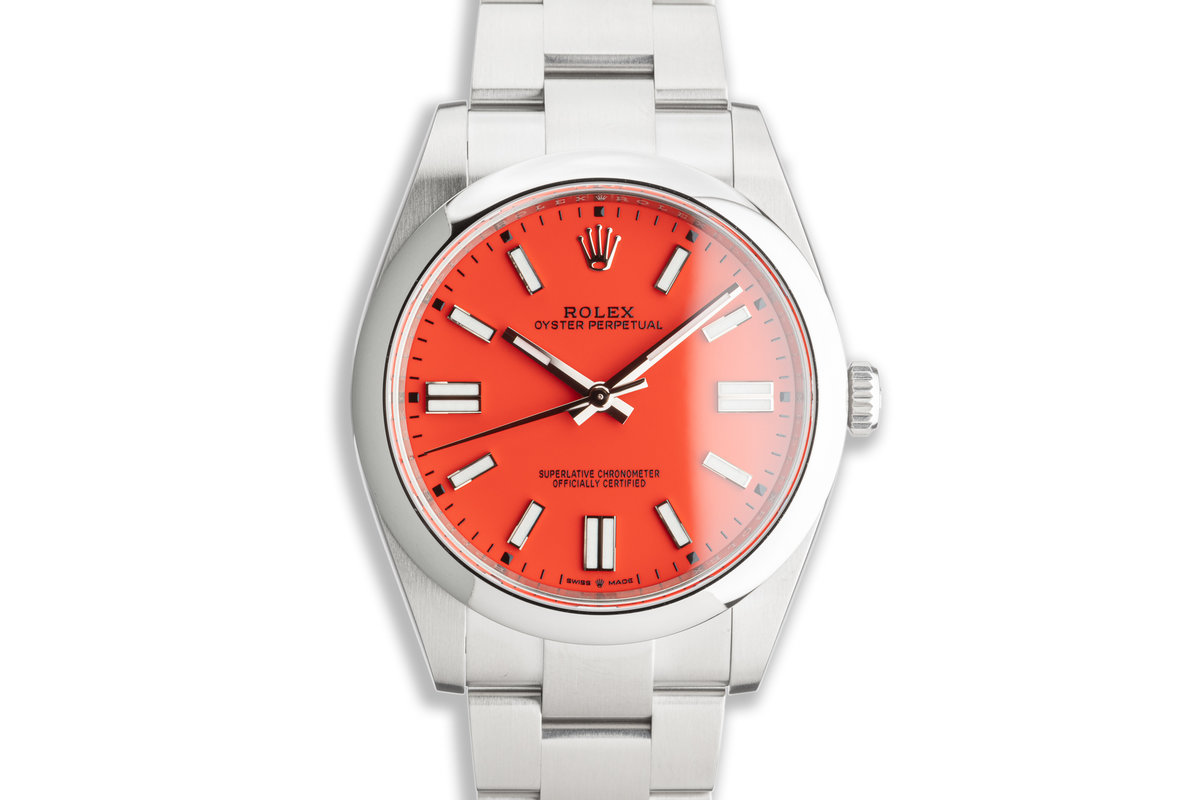 2021 Unworn 41mm Rolex Oyster Perpetual Coral Red 124300  Dial Box & Card photo, #0