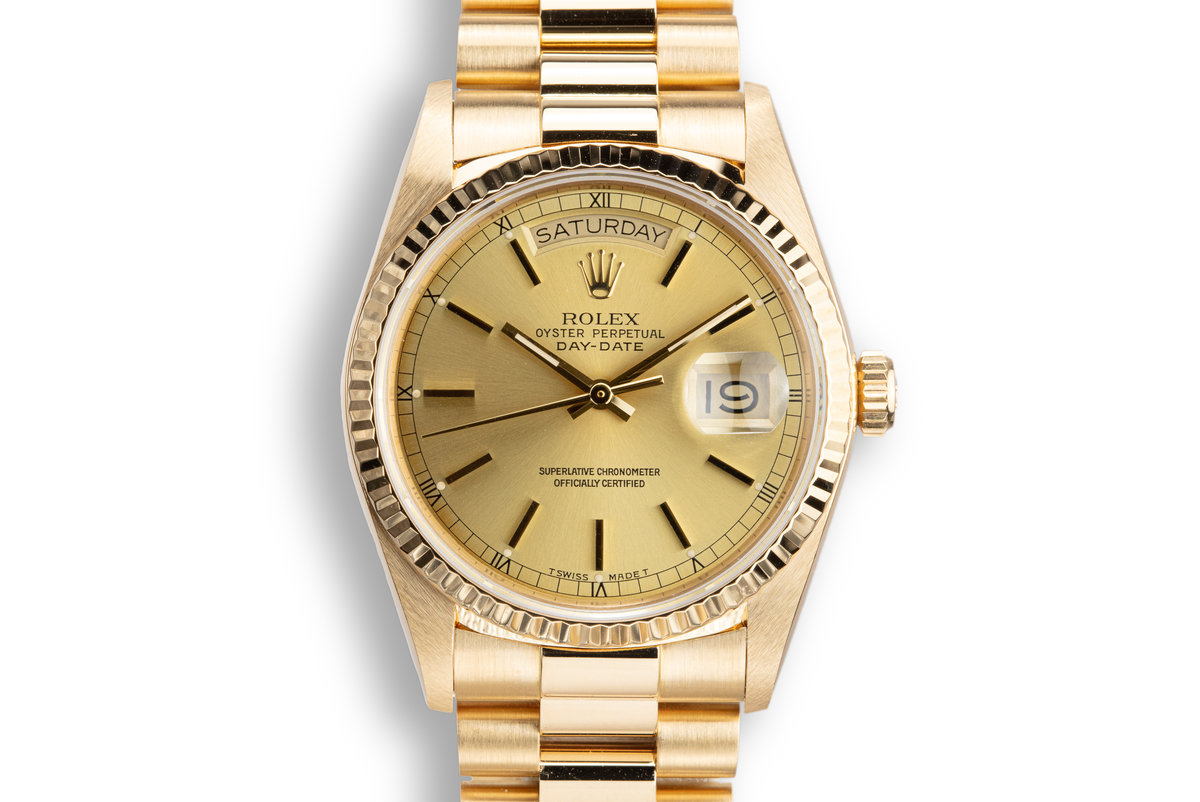 1987 Rolex 18K Day-Date 18038 Champagne Dial with Box, Papers, and Service Papers photo, #0