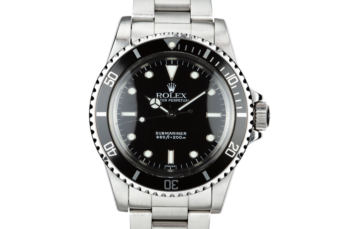 "1986 Rolex Submariner 5513 Glossy ""SWISS"" Only Luminova Service Dial with Box and Papers photo, #0"