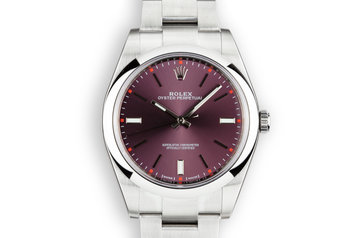 2018 Mint Rolex 39mm Oyster Perpetual 114300 Purple Dial with Box and Papers photo