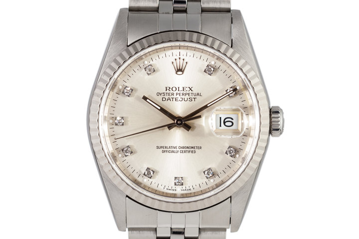1995 Rolex DateJust 16234 Factory Silver Diamond Dial photo