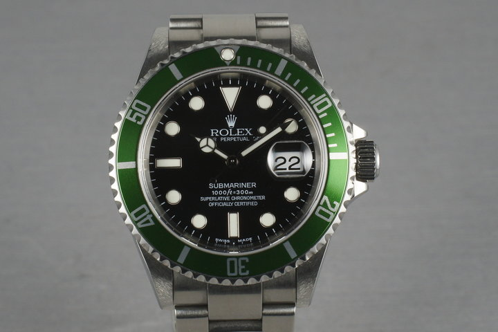 2004 Rolex Green Submariner 16610 LV Mark 1 dial and Mark 2 bezel photo