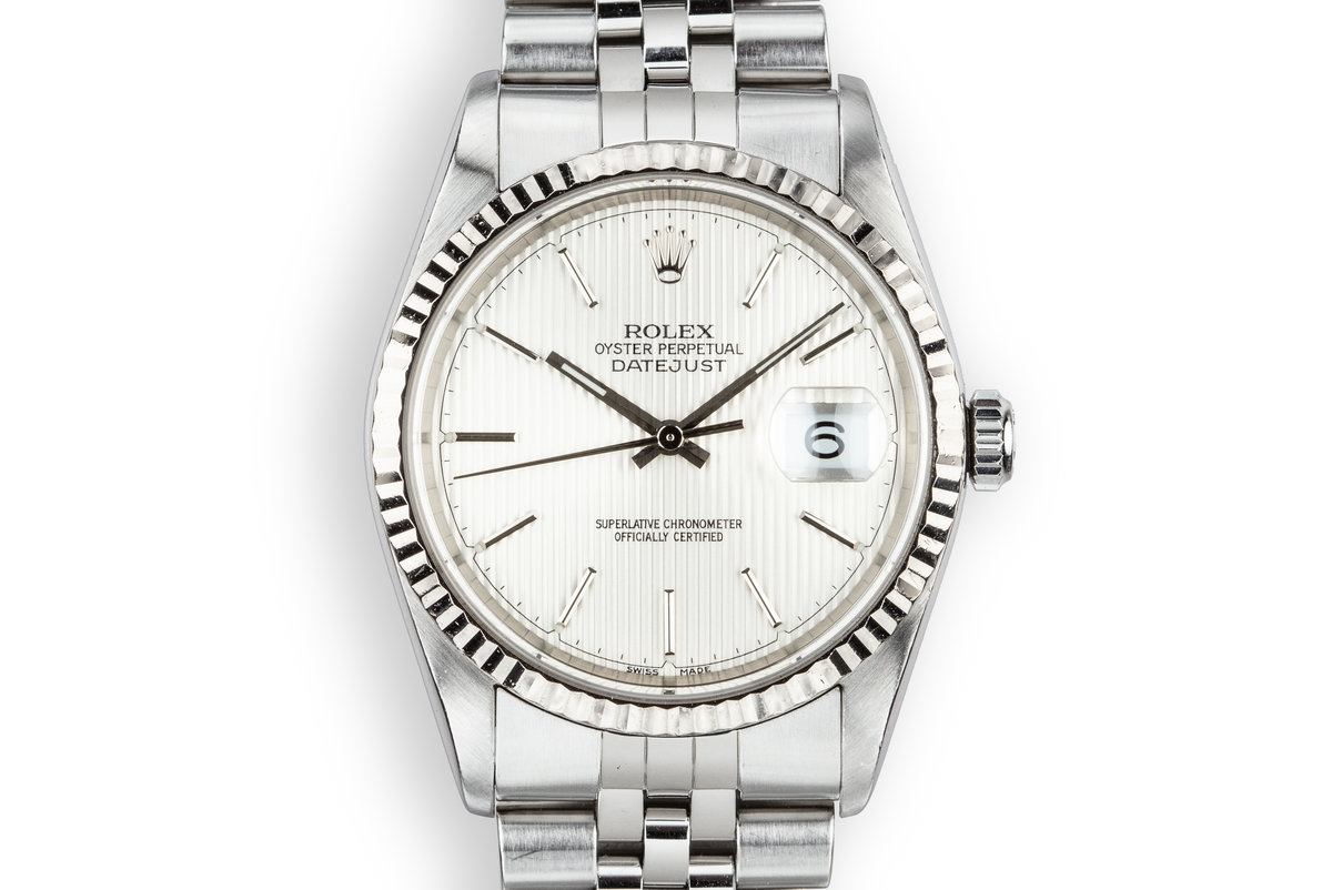 2001 Rolex DateJust 16234 with Silver Tapestry Dial photo, #0